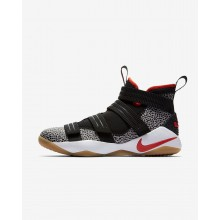 Nike LeBron Soldier XI SFG Basketball Shoes For Women Black/White/Atmosphere Grey/Team Orange 206DFMZG