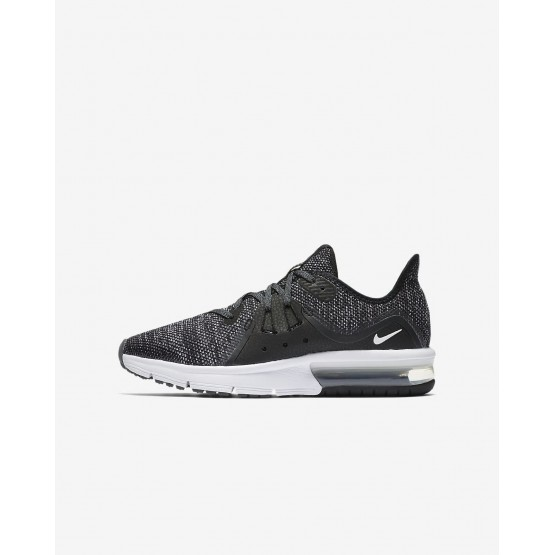 Nike Air Max Sequent 3 Running Shoes For Boys Black/Dark Grey/White/Metallic Hematite 640KYJOV