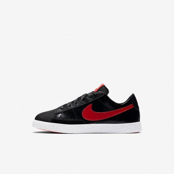 Nike Blazer Low QS Lifestyle Shoes For Girls Black/Bleached Coral/Speed Red 374ZHXYU