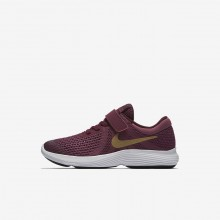 Nike Revolution 4 Running Shoes For Girls Tea Berry/Bordeaux/White/Metallic Gold 622WLBXM