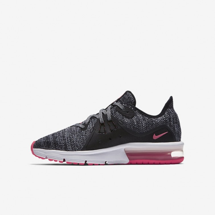quality design 91da8 5e2b8 Nike Air Max Sequent 3 Running Shoes For Girls BlackAnthraciteCool Grey