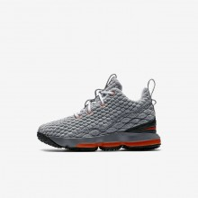 Nike LeBron 15 Basketball Shoes For Boys Black/Dark Grey/Cool Grey/Safety Orange 939STKPJ