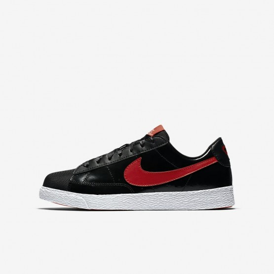 Nike Blazer Low QS Lifestyle Shoes For Girls Black/Bleached Coral/Speed Red 966ANXSE