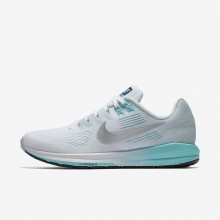 Nike Air Zoom Structure 21 Running Shoes For Women White/Glacier Blue/Polarized Blue/Metallic Silver 663IUPGO
