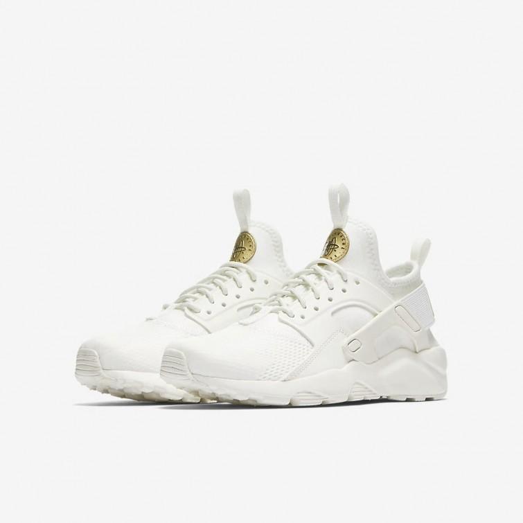 ed8ca32194a73 ... Nike Air Huarache Ultra Lifestyle Shoes For Boys Summit White Metallic  Gold Star 549LAXGE