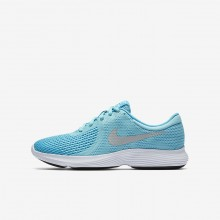 Nike Revolution 4 Running Shoes For Girls Bleached Aqua/Light Blue Fury/White/Metallic Silver 178HRZOK