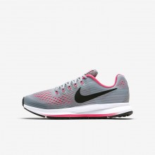 Nike Zoom Pegasus 34 Running Shoes For Girls Wolf Grey/Cool Grey/Racer Pink/Black 409DEQGF