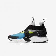 Chaussure Casual Nike Huarache City Garcon Bleu Clair/Platine/Noir 771POESN
