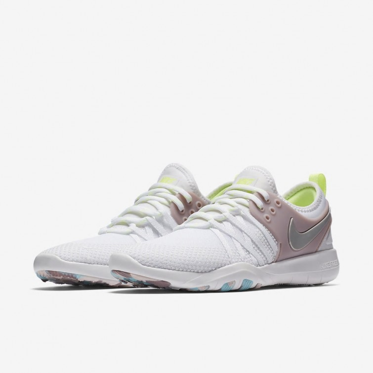 check out 4db03 172ff ... Nike Free TR7 Training Shoes For Women WhiteElemental RoseVolt  GlowMetallic