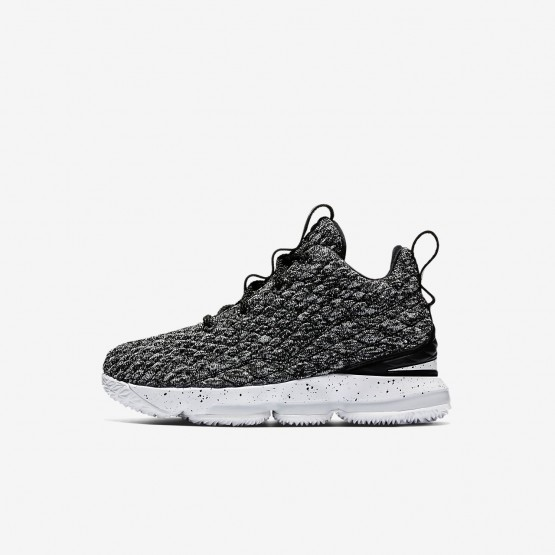 Nike LeBron 15 Basketball Shoes For Boys Black/White 442MCJTH
