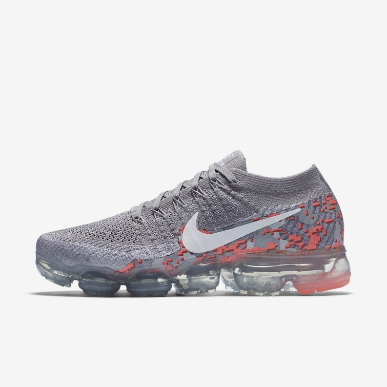 708dbc61a9ea Nike Air VaporMax Flyknit Camo Running Shoes For Women Atmosphere Grey White Hot  Punch