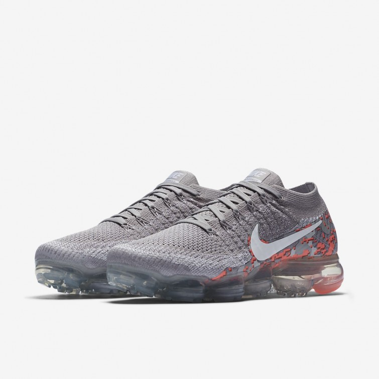 af825c9ba667f ... Nike Air VaporMax Flyknit Camo Running Shoes For Women Atmosphere Grey  White Hot Punch
