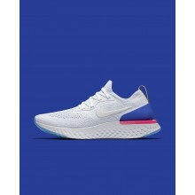 Sapatilhas Running Nike Epic React Flyknit Mulher Branco/Azuis/Rosa 876ZPROA