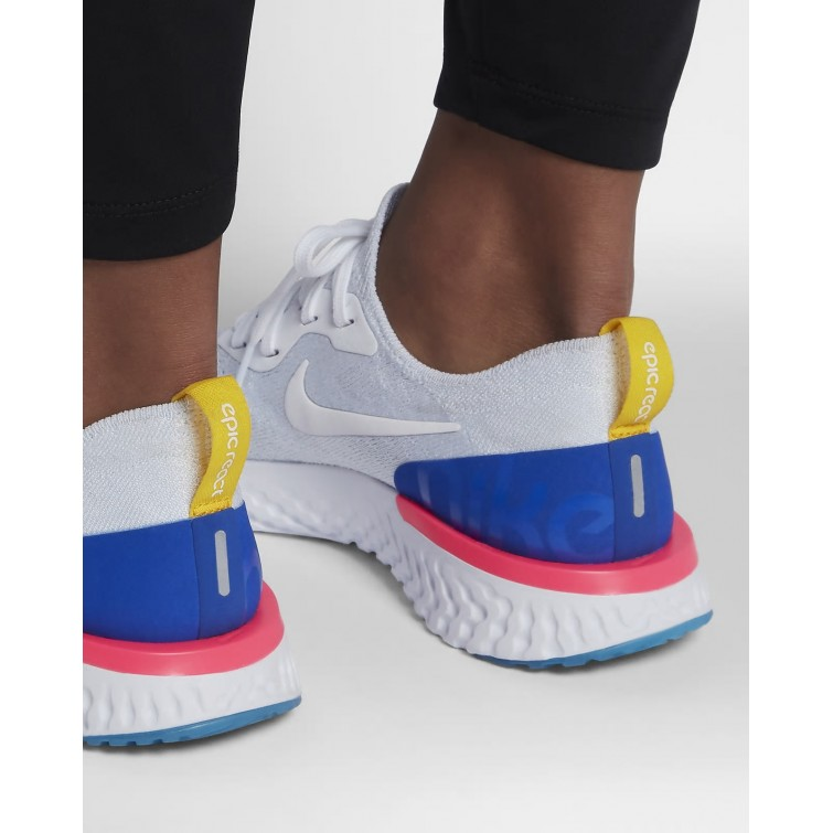 justa graduado Chillido  The New Nike Epic React Flyknit Running Shoes For Women White/Racer  Blue/Pink Blast Outlet USA