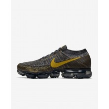 Nike Air VaporMax Flyknit Running Shoes For Men Black/Dark Grey/Mineral Gold 845GQDNA