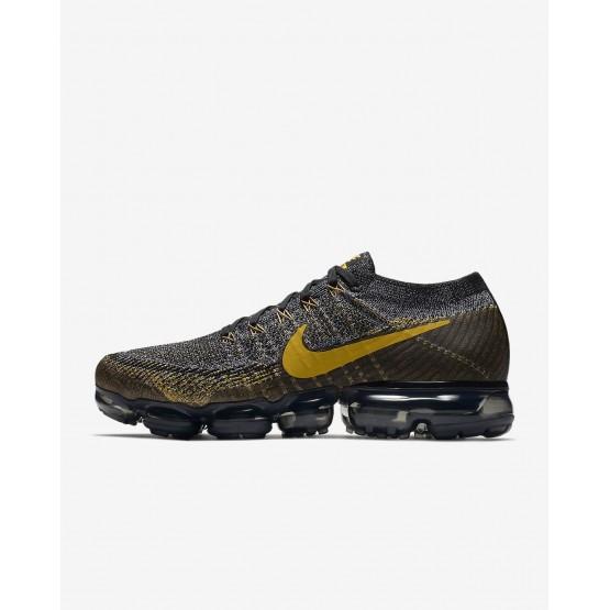 Zapatillas Running Nike Air VaporMax Flyknit Hombre Negras/Gris Oscuro/Doradas 619VYLFK