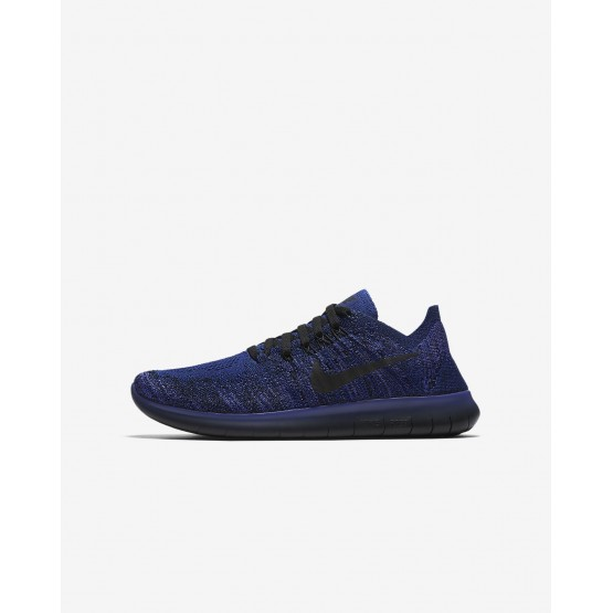 Nike Free RN Flyknit 2017 Running Shoes For Boys Deep Royal Blue/Persian Violet/Pink Blast/Black 137JAVDP