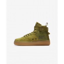 Nike SF Air Force 1 Mid Lifestyle Shoes For Boys Desert Moss/Gum Medium Brown/Black 813NIHYM
