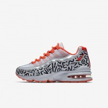 Nike Air Max 95 QS Lifestyle Shoes For Boys White/Black/Bright Crimson 860ICYVF