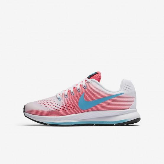 Nike Zoom Pegasus 34 Hardloopschoenen Meisjes Roze/Wit/Zwart/Blauw 165FBDTP