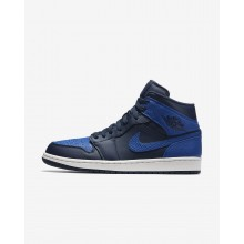 Nike Air Jordan 1 Mid Lifestyle Shoes For Men Obsidian/Summit White/Game Royal 332HXBEW