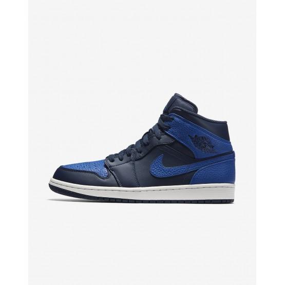 Nike Air Jordan 1 Mid Lifestyle Shoes For Men Obsidian/Summit White/Game Royal 332HXBEW