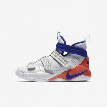 Nike LeBron Soldier XI SFG Basketball Shoes For Boys White/Infrared/Pure Platinum/Racer Blue 215UFRBH