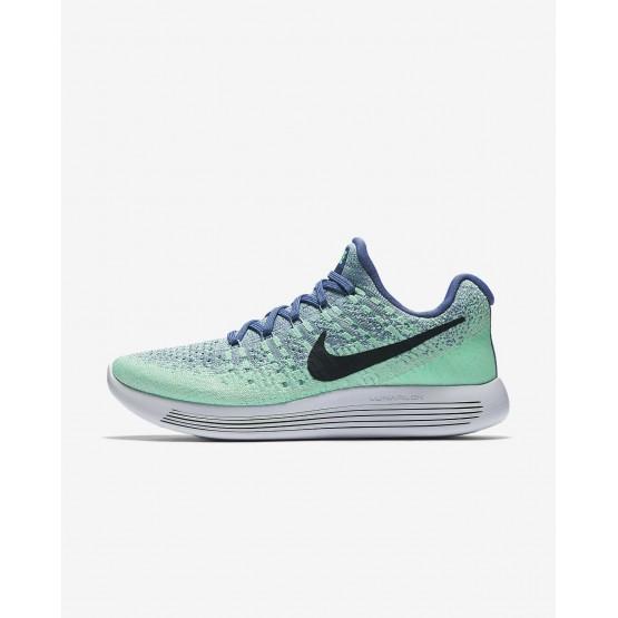 Nike LunarEpic Low Flyknit 2 Hardloopschoenen Dames Blauw/Groen/Groen/DonkerObsidian 761ZGTPB