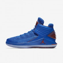 Nike Air Jordan XXXII Russ Basketballschuhe Herren Blau/Metal Silber/Orange 342ZAQFI