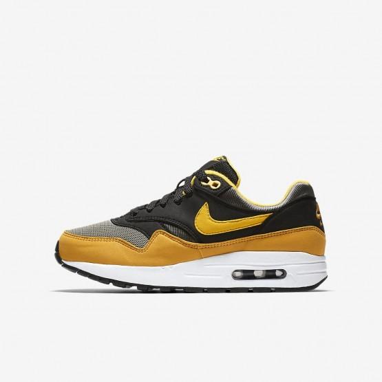Nike Air Max 1 Lifestyle Shoes For Boys Dark Stucco/Black/Mineral Yellow/Vivid Sulfur 250EHYOC