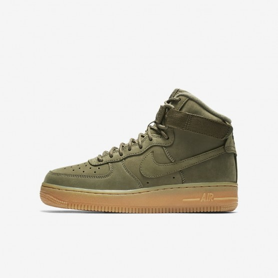 Nike Air Force 1 High WB Freizeitschuhe Jungen Olivgrün/HellBraun/Schwarz 216XJCWN