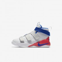 Nike LeBron Soldier XI SFG Basketball Shoes For Boys White/Infrared/Pure Platinum/Racer Blue 900LYVTW