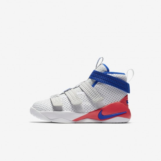 e70bbfd4da3 Nike LeBron Soldier XI SFG Basketball Shoes For Boys White Infrared Pure  Platinum