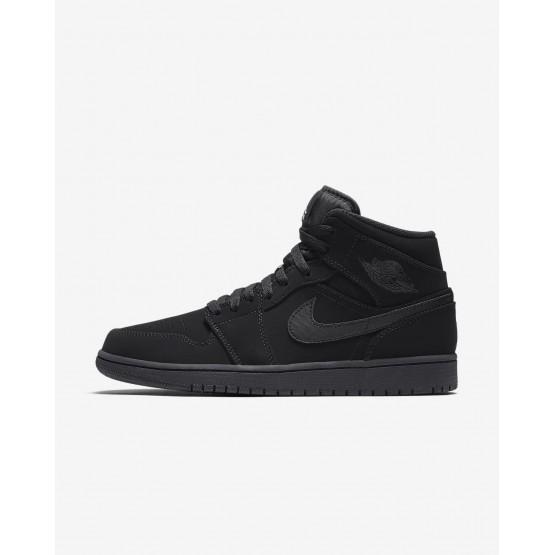 Nike Air Jordan 1 Mid Casual Schoenen Heren Zwart/Wit 404VKRXM