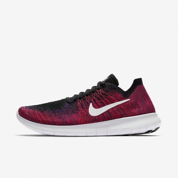 30759e1e99c0 Nike Free RN Flyknit 2017 Running Shoes For Boys Black Total Crimson University  Red