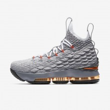 Nike LeBron 15 Basketball Shoes For Boys Black/Dark Grey/Wolf Grey/Safety Orange 627GMPFR