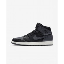Nike Air Jordan 1 Mid Lifestyle Shoes For Men Black/Summit White/Dark Grey 636IMJPV