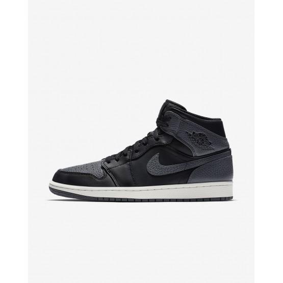 Zapatillas Casual Nike Air Jordan 1 Mid Hombre Negras/Blancas/Gris Oscuro 728FESQD