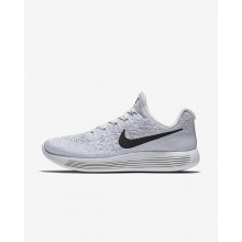 Nike LunarEpic Low Flyknit 2 Running Shoes For Women White/Pure Platinum/Wolf Grey/Black 441ZQTBL