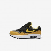 Nike Air Max 1 Lifestyle Shoes For Boys Dark Stucco/Black/Mineral Yellow/Vivid Sulfur 770FYRPO