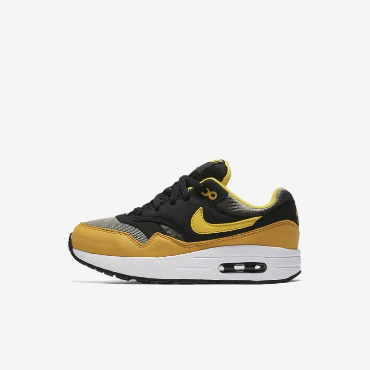 683ac895cdc69 Nike Air Max 1 Lifestyle Shoes For Boys Dark Stucco Black Mineral Yellow