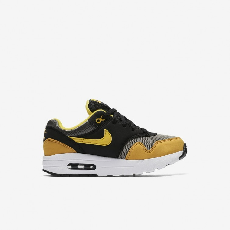 4fd4c1096755 ... Nike Air Max 1 Lifestyle Shoes For Boys Dark Stucco Black Mineral Yellow   ...