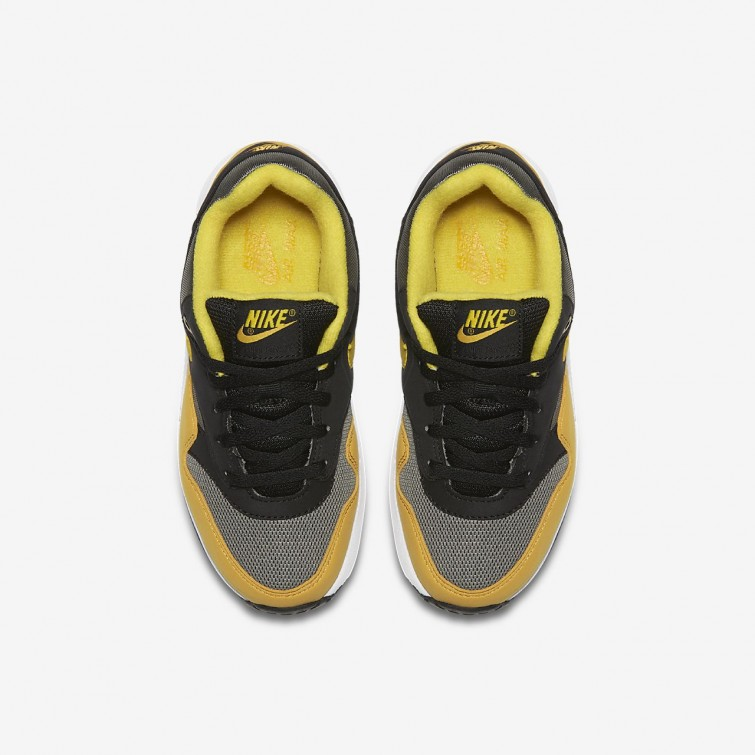 a44c06ef54e9 ... Nike Air Max 1 Lifestyle Shoes For Boys Dark Stucco Black Mineral Yellow