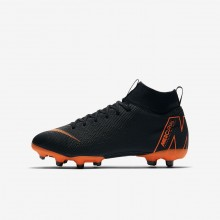 Nike Jr. Superfly VI Academy MG Soccer Cleats For Boys Black/White/Total Orange 990FBIEZ