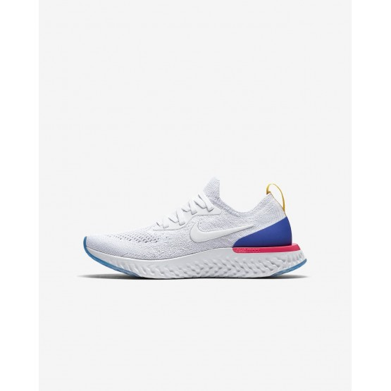 Nike Epic React Flyknit Running Shoes For Boys White/Racer Blue/Pink Blast 714IPNQA