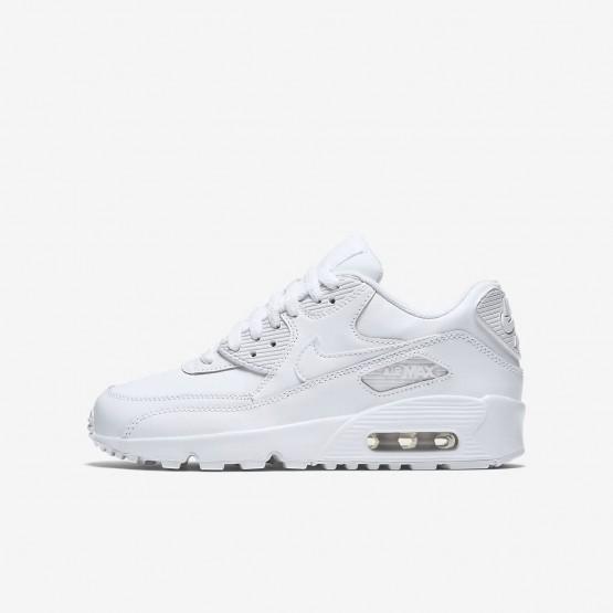 Nike Air Max 90 Leather Lifestyle Shoes For Boys White 745XDMHU