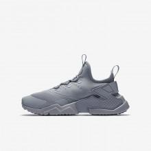 Nike Huarache Run Drift Lifestyle Shoes For Boys Wolf Grey/White 681HIURQ