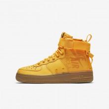 Nike SF Air Force 1 Mid Lifestyle Shoes For Boys Laser Orange/Gum Medium Brown 984ETBZG