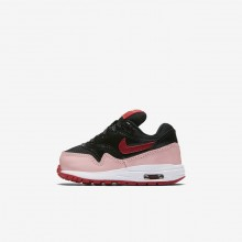 Nike Air Max 1 QS Lifestyle Shoes For Girls Black/Bleached Coral/Speed Red 379ZOMNK
